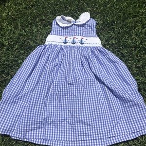 Other - Smocked Sailboat Dress. ⛵️ 4T. Blue and White.